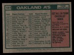 1975 Topps #561   -  Al Dark Athletics Team Checklist Back Thumbnail
