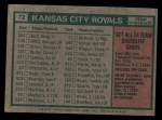 1975 Topps #72   -  Jack McKeon Royals Team Checklist Back Thumbnail