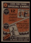 1972 Topps #38  In Action  -  Carl Yastrzemski Back Thumbnail