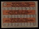 1972 Topps #79  Red Sox Rookies  -  Carlton Fisk / Cecil Cooper / Mike Garman Back Thumbnail