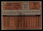 1972 Topps #45 ERR Glenn Beckert  Back Thumbnail