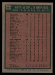 1975 Topps #461   -  Reggie Jackson 1974 World Series - Game #1 Back Thumbnail