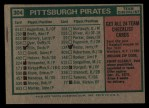 1975 Topps #304  Pirates Team Checklist  -  Danny Murtaugh Back Thumbnail