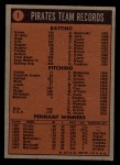 1972 Topps #1  Pirates Team  Back Thumbnail
