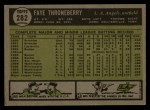 1961 Topps #282   Faye Throneberry Back Thumbnail