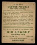 1933 Goudey #12   George Pipgras Back Thumbnail