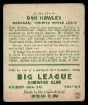 1933 Goudey #175   Dan Howley Back Thumbnail