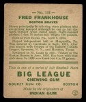 1933 Goudey #131   Fred Frankhouse Back Thumbnail