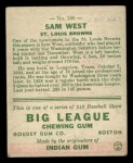 1933 Goudey #166   Sam West Back Thumbnail