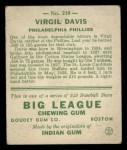 1933 Goudey #210  Virgil Davis  Back Thumbnail