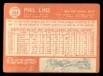1964 Topps #344   Phil Linz Back Thumbnail