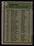 1979 Topps #82  Mets Team Checklist  -  Joe Torre Back Thumbnail