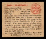 1950 Bowman #63  Ewell Blackwell  Back Thumbnail
