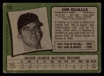 1971 Topps #731   Jim Qualls Back Thumbnail