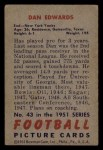 1951 Bowman #43   Dan Edwards Back Thumbnail