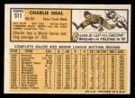 1963 Topps #511   Charlie Neal Back Thumbnail