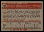 1952 Topps #107   Connie Ryan Back Thumbnail