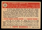 1952 Topps #173   Roy Smalley Back Thumbnail