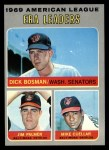 1970 Topps #68  AL ERA Leaders  -  Dick Bosman / Mike Cuellar / Jim Palmer Front Thumbnail