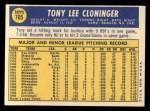 1970 Topps #705   Tony Cloninger Back Thumbnail