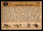 1960 Topps #7  Master & Mentor  -  Willie Mays / Bill Rigney Back Thumbnail