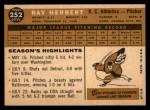 1960 Topps #252   Ray Herbert Back Thumbnail