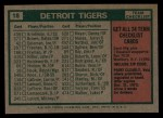 1975 Topps #18   -  Ralph Houk Tigers Team Checklist Back Thumbnail
