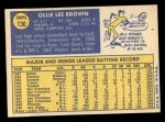 1970 Topps #130  Ollie Brown  Back Thumbnail