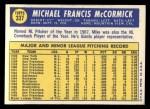 1970 Topps #337   Mike McCormick Back Thumbnail