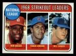 1969 Topps #12  1968 NL Strikeout Leaders  -  Bob Gibson / Fergie Jenkins / Bill Singer Front Thumbnail