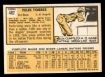 1963 Topps #482  Felix Torres  Back Thumbnail