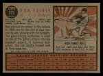 1962 Topps #375  Ron Fairly  Back Thumbnail
