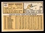 1963 Topps #425   Smoky Burgess Back Thumbnail