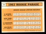1963 Topps #54 ERR  -  Dave DeBusschere / Nelson Matthews / Harry Fanok / Jack Cullen 1962 Rookies Back Thumbnail