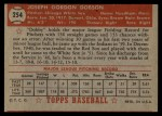 1952 Topps #254   Joe Dobson Back Thumbnail