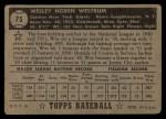 1952 Topps #75 BLK  Wes Westrum Back Thumbnail
