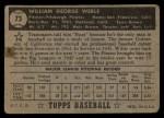 1952 Topps #73 BLK  Bill Werle Back Thumbnail