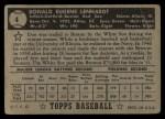 1952 Topps #4 BLK  Don Lenhardt Back Thumbnail