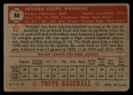 1952 Topps #80 RED  Herm Wehmeier Back Thumbnail