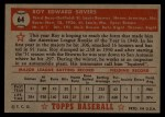 1952 Topps #64 RED  Roy Sievers Back Thumbnail