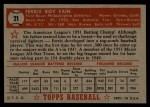 1952 Topps #21 RED Ferris Fain  Back Thumbnail