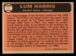 1966 Topps #147  Lum Harris  Back Thumbnail