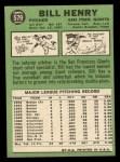 1967 Topps #579   Bill Henry Back Thumbnail