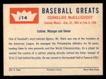1960 Fleer #14  Connie Mack  Back Thumbnail
