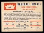 1960 Fleer #4   Carl Hubbell Back Thumbnail
