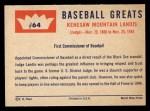 1960 Fleer #64   Judge Landis Back Thumbnail