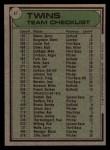 1979 Topps #41  Twins Team Checklist  -  Gene Mauch Back Thumbnail
