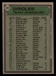 1979 Topps #689  Orioles Team Checklist  -  Earl Weaver Back Thumbnail