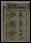 1979 Topps #82  Mets Team Checklist  -  Joe Torre Back Thumbnail