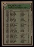 1979 Topps #451  Royals Team Checklist  -  Whitey Herzog  Back Thumbnail